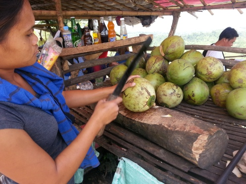 At the top of the volcano a woman prepares coconuts for those whose throats are parched.