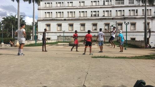 Barefoot futbol on concrete